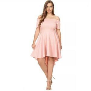 ❤️ Plus Pink Off Shoulder Hi Low Crepe Party Dress